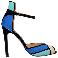 2dac498fc Onlineshoe Ladies Womens Peep Toe Mid Heels - High Back Strappy Sandals -  Blue Turquoise Cream Black Suede UK 7 - EU40  Amazon.co.uk  Shoes   Bags