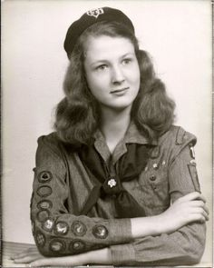 1940s Girl Scout Dress Uniform Badges Hat Pins Socks Belt Photo