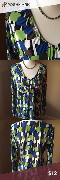 Worthington Stretch Blouse This fun and colorful top is sure to add a pop of color to your outfit. The polyester/spandex blend make it super comfy. Worthington Tops Blouses