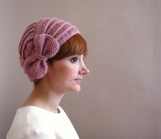 Dusty Rose Crochet Beret with Bow ❤ by SistersandStories on Etsy,