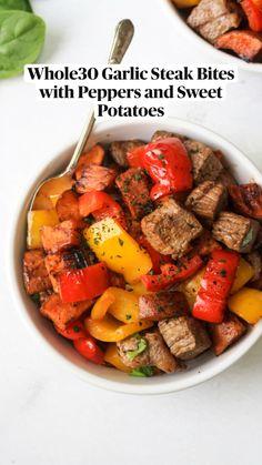 Sweet Potatoe Bites, Potato Bites, Sweet Potato Hash, Cube Steak Recipes, Sauteed Peppers, Flat Iron Steak, Steak Bites, Sausage And Egg