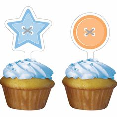 Cute as a Button Boy Cupcake Toppers 144 ct