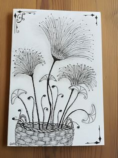 Little flowers/dandelions - Line art - Vector drawing Flower Doodles, Line Art Vector, Drawings, Doodle Art, Flower Drawing, Art Journal, Simple Line Drawings, Tangle Art, Zen Art