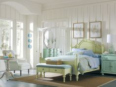 Lexington Seaside Retreat Furniture to Consider Getting and Using: mesmerizing traditional bedroom with white walls soft green bed frame with blue comforter set there are also bedside lamp brown rug white chair side table drawers and mirror