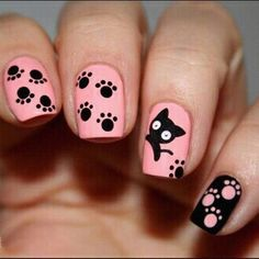 - Nail Art - Black Cat Theme Nail Art Water Decals Transfers Stickers Manicure Tips . Black Cat Theme Nail Art Water Decals Transfers Stickers Manicure Tips Cat Nail Art, Cat Nails, Nail Art Diy, Cat Nail Designs, Nail Art Designs 2016, Nail Art Simple, Gel Nagel Design, Nails For Kids, Nail Patterns