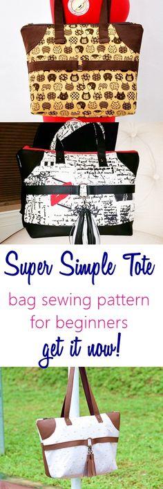 Tote sewing pattern   handbag sewing pattern   beginner bag sewing patterns   easy bag pattern
