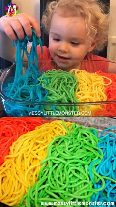 Discover how to make rainbow spaghetti for sensory play using our easy how to dye spaghetti directions. Babies, toddlers and preschoolers will all love this colored spaghetti sensory play. Baby Sensory Play, Sensory Activities Toddlers, Sensory Bins, Baby Play, Infant Activities, Science Activities, Sensory Art, Summer Activities, Sensory Activities For Toddlers