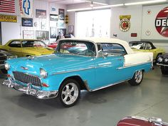 1955 Chevy in one gorgeous garage! 1955 Chevy, 1955 Chevrolet, Chevrolet Bel Air, My Dream Car, Dream Cars, Corvette Stingray 1969, Classic Style, Classic Cars, American Dreams