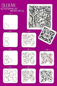 Olluan by Tina Hunziker (Step Drawing Zentangle Patterns) Doodles Zentangles, Tangle Doodle, Tangle Art, Zentangle Drawings, Zen Doodle, Doodle Drawings, Doodle Art, Easy Drawings, Heart Doodle