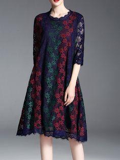 #AdoreWe #StyleWe Midi Dresses - GYALWANA H-line 3/4 Sleeve Vintage Floral Crocheted Lace Plus Size Midi Dress - AdoreWe.com