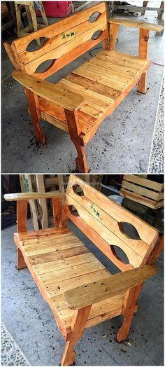 reused pallet bench #recycledfurniture