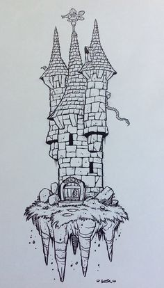 Inktober - Day 10 by on deviantART Great inspiration! Looking forward to taking part in my first ever Inktober this year! Castle Drawing, Building Drawing, Pen Art, Doodle Art, Drawing Sketches, Inktober, Architecture Art, Art Inspo, Art Reference