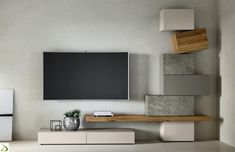 Urom stay - Design living room in wood and stone with Urom totem Tv Unit Furniture, Furniture Design, Tv Wall Design, House Design, Tv Wall Decor, Modern Office Design, Living Room Tv, Living Room Designs, Interior Design