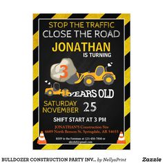 BULLDOZER CONSTRUCTION PARTY INVITATION