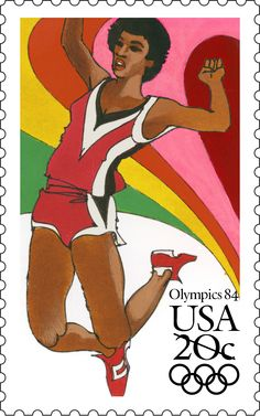Issued in 1984, the Long Jump stamp  was part of a set of four stamps commemorating the 1984 Summer Olympics in Los Angeles, California.