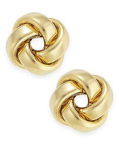 14k Gold Earrings, Polished Love Knot Stud Earrings - Earrings - Jewelry & Watches - Macy's