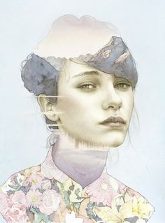"""These stunning images which resemble double exposure photographs are actually created through watercolor, pastels, colored pencils, and graphite. Artist Oriol Angrill Jorda's """"blendscapes"""" combine portraiture with landscapes into final works that resemble computer manipulation."""