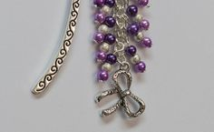 Beaded Bookmark Purple & Silver Themed with Bow by PeterAndLily