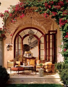 Stylish Patio & Outdoor Space Design Ideas Loggia - Love the bougainvillaea and the patterns with brick.Loggia - Love the bougainvillaea and the patterns with brick. Under The Tuscan Sun, Outdoor Rooms, Outdoor Dining, Outdoor Areas, Outdoor Patios, Outdoor Furniture, Indoor Outdoor, Iron Furniture, Outdoor Kitchens