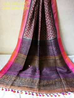 EXCLUSIVE PRINTED LINEN SAREE with blouse pc Pure Linen by Linen(100 count) Order what's app7995736811