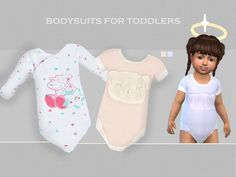 2 lovely bodysuits for toddlers. I created them to suit boys and girls. Found in TSR Category 'Sims 4 Toddler Female'