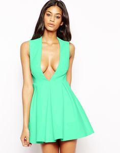 AQ+AQ+Upper+Mini+Dress+with+Plunge+Neck
