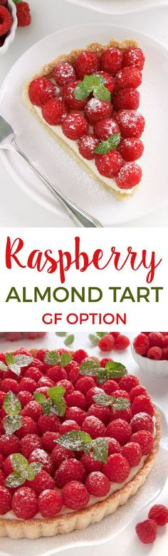 This delicious raspberry almond tart has a sugar cookie-like crust and almond cream cheese filling. Can be made with gluten-free, whole grain or all-purpose flour. #finestberries #raspberrydessert @driscollsberry  #ad