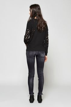 R13 Shredded Side Zip Sweatshirt & High Rise Jean | Dieppa Restrepo Kat Boots | MYCHAMELEON.COM.AU
