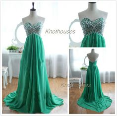 Sweetheart Beaded Top zipper back Long Green Chiffon prom dress  This dress can be custom made, both size and color can be custom made. Custom size and color made will charge for no extra. If you need a custom dress, please send us messages for your detail requirements.  For custom size, we w...