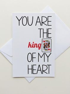 Funny Romantic Card King of Hearts Valentine Card Love Card Valentines Day Card for Him Card for Husband Card for Boyfriend - M.S - Valentine's day Love Cards For Him, Funny Love Cards, Love Quotes For Him, King Of My Heart, King Of Hearts, Cards For Boyfriend, Boyfriend Gifts, Valentines Day Gifts For Him, Valentine Day Cards
