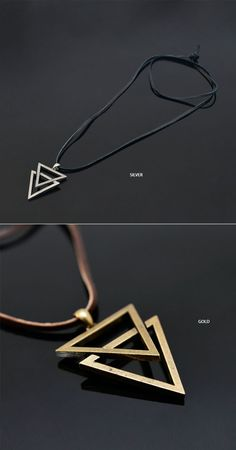 Accessories :: Necklaces :: Vintage Double Metal Triangle-Necklace 190 - Mens Fashion Clothing For An Attractive Guy Look