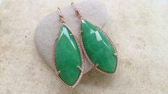 Green Long Teardrop Black Gem Earrings with Rose Gold jewel bezel drop pendant Elegant Chic Jewelry