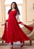Buy Fabfiza Net Brasso Red Semi Stitched Anarkali Suit at lowest price online in India. It will suit your personality and make you even more graceful
