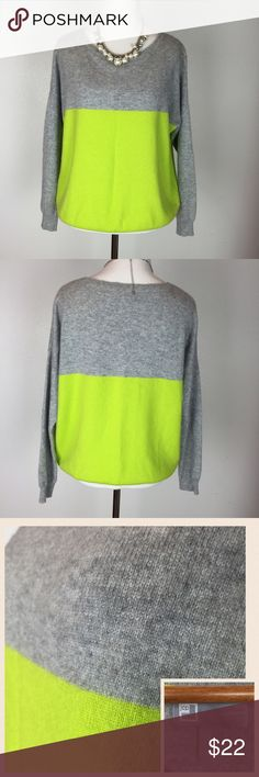 100% cashmere sweater Heather gray and bright lime green color block sweater. 100% cashmere, super soft! One small hole on left hand side of waist, see 4th pic, not very noticeable at all unless you're looking for it. Besides that it's in like-new condition. Hardly any pilling, see 3rd pic for closeup of surface quality. Size L. 🚫trade jcpenney Sweaters Crew & Scoop Necks