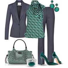 """Green & Grey for Work"" by yasminasdream on Polyvore"