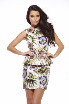 35b019be8c AX Paris Tropical Printesd Sleeveless Peplum Dress