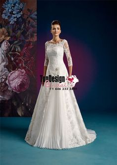 2017 Wholesale Vestido De Novia 3/4 Length Sleeves Flower Lace Up Bridal Gown Scoop Sweep Chiffon Lace Wedding Dresses