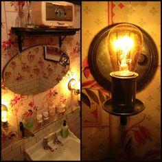 New York City's Exchange Alley's bathroom. #vintage #powderroom http://www.photojeanie.com/nyc-restaurant-bathroom-decorating-ideas/