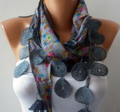 Gray Scarf Cotton Scarf Shawl Cowl with Lace Edge by fatwoman