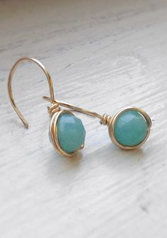 Amazonite Faceted Wire Earrings