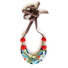 A Alicia Hand Made Accessories — Forest Necklace, hand-embroidered