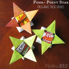 Muslin and Merlot: Four Point Star Origami Treat Box // would also be cute for jewelry and other small gifts