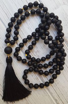 Mala Beads For New Beginnings Black Onyx Mala Necklace Mala For Grounding Root Chakra Mala 108 Bead Mantra Mala Black Tassel Necklace Tassel Jewelry, Diy Jewelry, Beaded Jewelry, Handmade Jewelry, Jewelry Making, Beaded Bracelets, Jewelry Necklaces, Jewellery, Diy Necklace