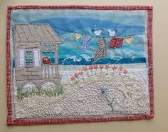 Applique and embroidered seascape using recycled materials Machine Applique, Free Machine Embroidery, Machine Quilting, Fabric Postcards, Fabric Cards, Free Motion Embroidery, Free Motion Quilting, Quilting Projects, Sewing Projects