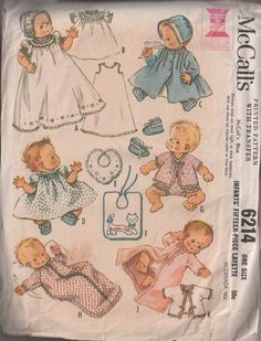 MOMSPatterns Vintage Sewing Patterns - McCall's 6214 Vintage 60's Sewing Pattern BEAUTIFUL Baby Layette, Christening Gown, Slip, Flared Coat, Hat, Bib, Booties, Sacque, Top, Dress, 15 Pieces!