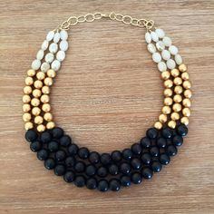 Onyx Gold and Crystal Statement Necklace by icravejewels on Etsy