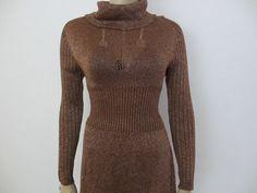 70s Sexy Metallic Knit Maxi Dress designer vintage