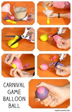 How to make a beanbag out of balloons or water balloons and sand (for carnival games). Or for the adult who gets stressed make your own stress squeeze ball with Elmer's glue and glycerin in regular balloons. School Carnival, Carnival Birthday Parties, Circus Birthday, Fall Carnival Games, Halloween Carnival, Carnival Ideas, Homemade Carnival Games, Fall Games, Rio Carnival