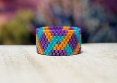Browse unique items from PeyoteRings on Etsy, a global marketplace of handmade, vintage and creative goods. Bead Loom Patterns, Bracelet Patterns, Beading Patterns, Peyote Beading, Beaded Rings, Beaded Jewelry, Bead Jewelry, Bracelets, Necklaces