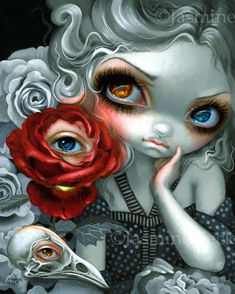The Nightingale and the Rose by Jasmine Becket-Griffith - heterochromia - big eyes - Heart's Blood - Del Kathryn Barton - Haven Gallery - Oscar Wilde